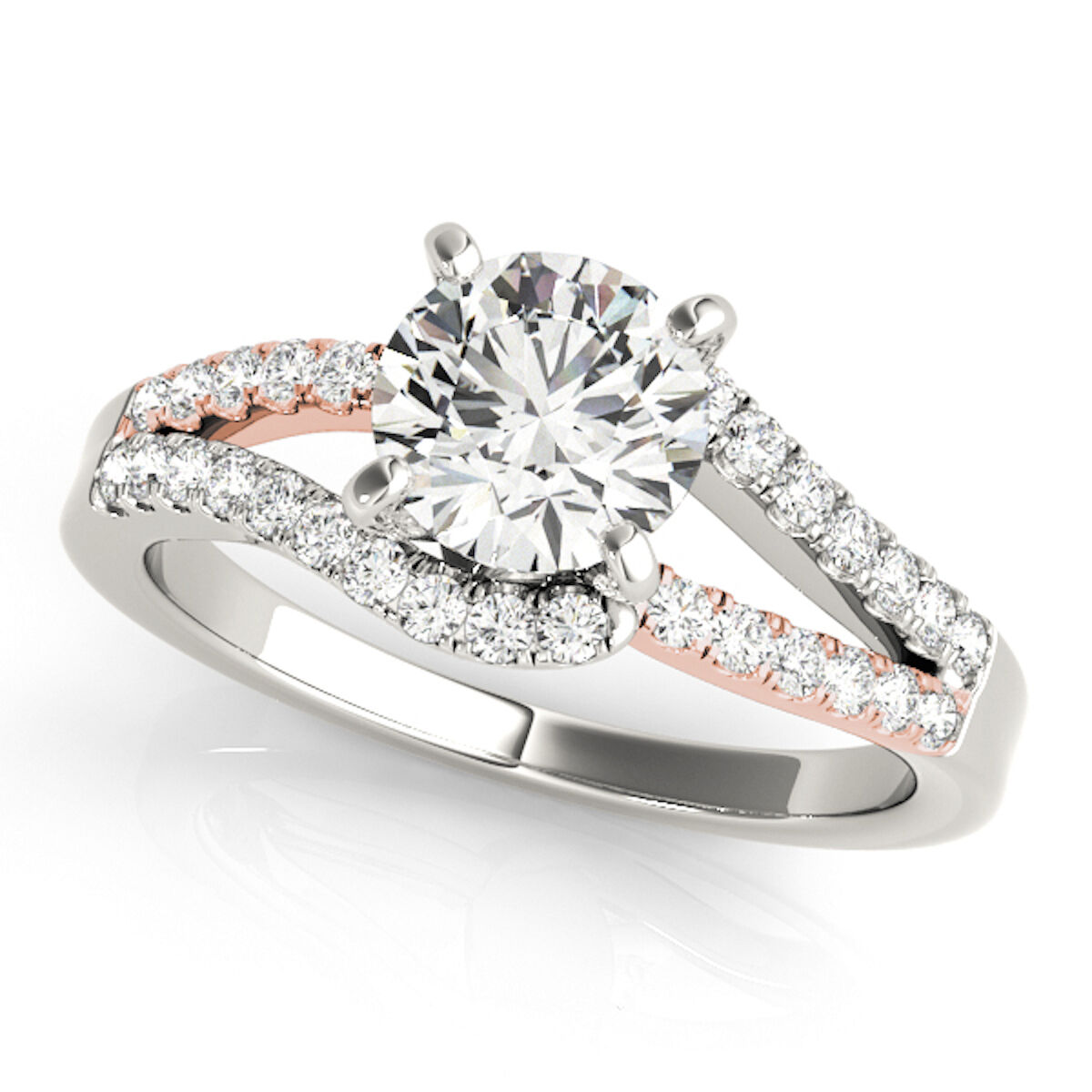 0.75 Carat Halo Two-Tone Diamond Engagement Ring In 14k  pink and White gold