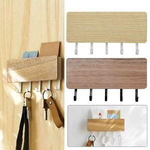 Wall Mounted Hanging Hanger Hooks Key Holder Storage Door Rack Shelf Organizer·