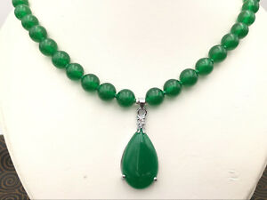 e9c2f1feab386d NATURAL 8mm GREEN JADE ROUND BEADS & TEARDROP PENDANTS NECKLACE 18 ...