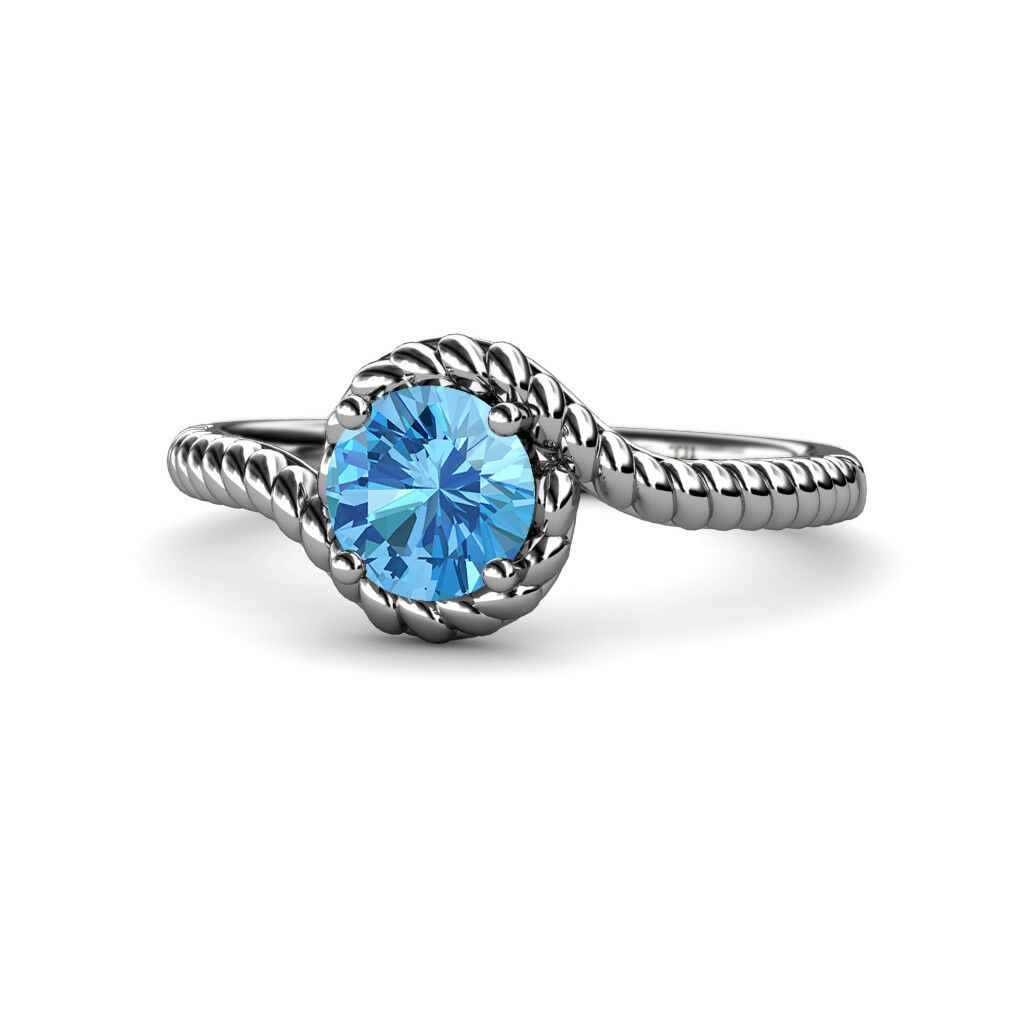 bluee Topaz Bypass Rope Solitaire Engagement Ring 1.05 ct 14K gold JP 112548