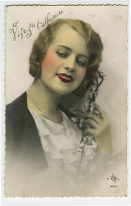 1930s-French-Deco-Glamour-PRETTY-YOUNG-LADY-French-glamor-photo-postcard
