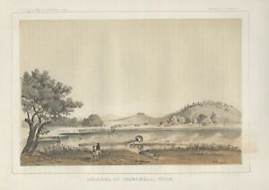 1853-1856-034-Crossing-of-Chowchilla-River-034-original-lithograph
