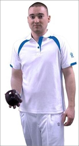 Taylor mens gents Ace XV1 bowlswear bowls clothing White bluee polo T-shirt 671