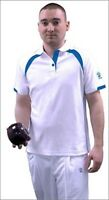 Taylor Mens Gents Ace Xv1 Bowlswear Bowls Clothing White/blue Polo T-shirt 671