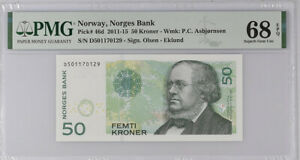 Norway 50 Kroner 2011-2015 P 46 D Superb Gem UNC PMG 68 EPQ Top Pop