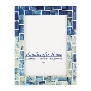Handicrafts Home Indigo Mosaic Photo Frame Bone Inlay Handmade