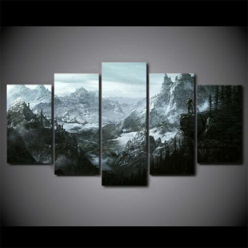 The Elder Scrolls V Skyrim Mountains Landscape Canvas Print Painting Wall Art 5P