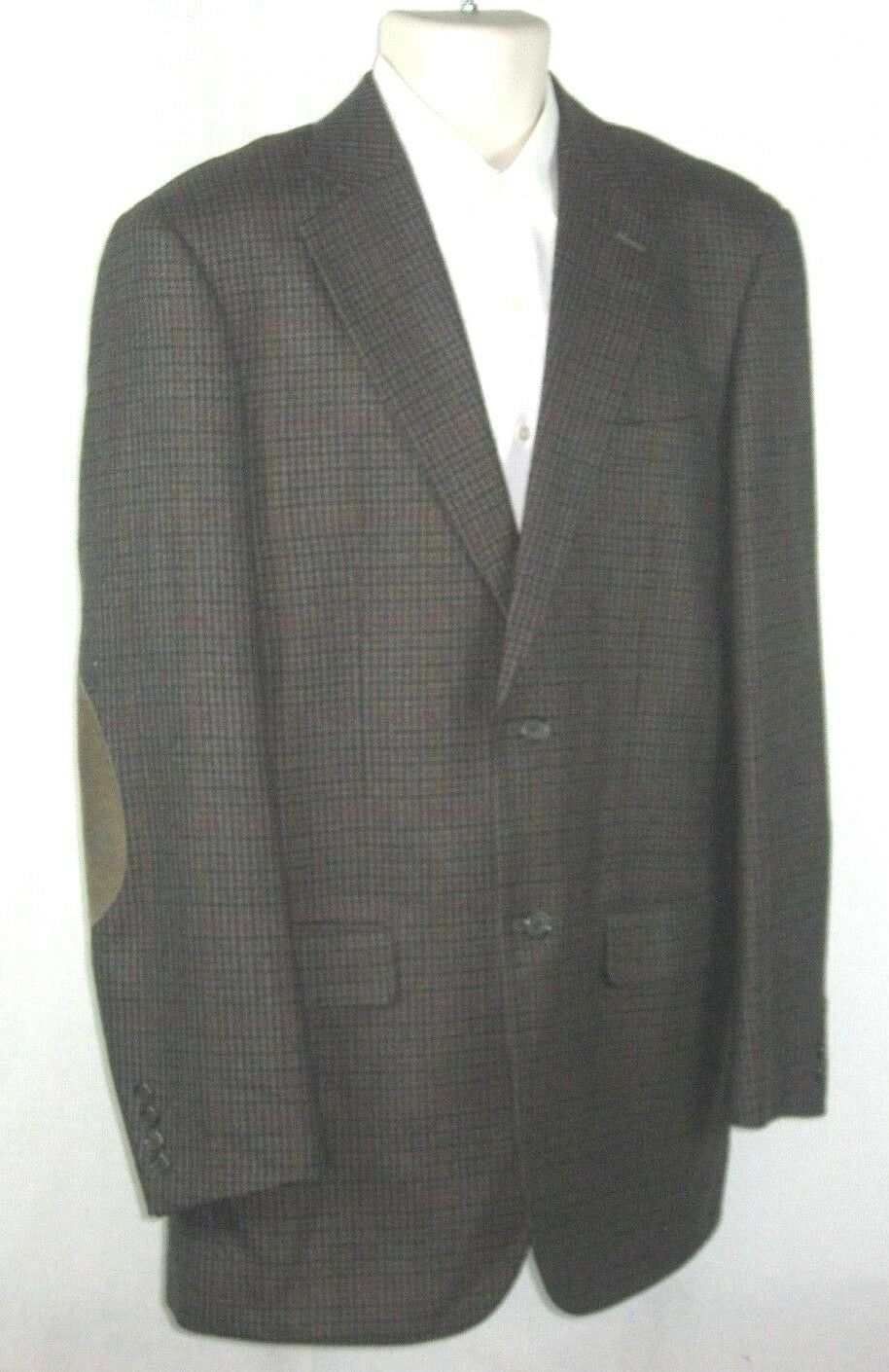 Tan Pendleton Houndstooth Tweed 42L Sport Coat Elbow Patches Leder EUC