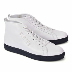 Versace Collection Mens White Leather Fashion Sneakers Shoes Sz US 6 IT 39