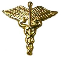 Caduceus Military Medical Officer Insignia Emblem Lapel Pin Tac Gold Plate Pm990