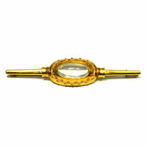 Designer Brosche Mit Mondstein 585 Gold & Granulation Signiertes Unikat Um 1950