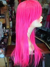 BEAUTIFUL LUXURIOUS LONG STRAIGHT THICK  WIG FITS ALL UV NEON PINK