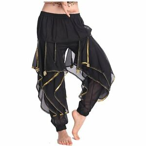 AU-Belly-Dance-Frills-Pants-Skirt-With-Gold-Sequin-Trim-Dancing-Rotation-Pants