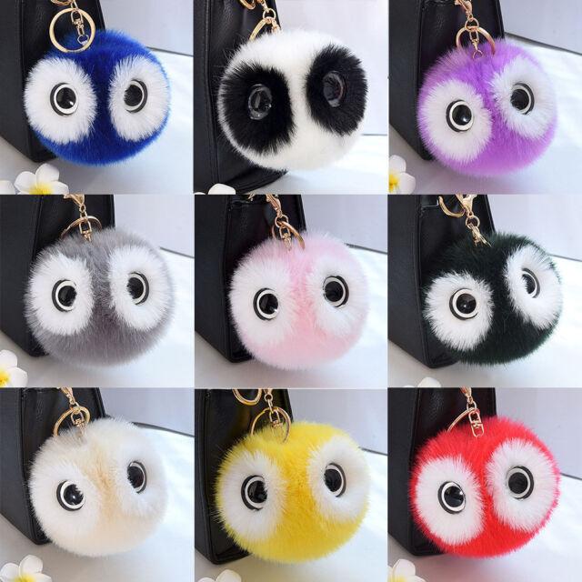 Cute Panda Big Eyes Hairball Key Ring Car Bag Keychain Pendant Accessories