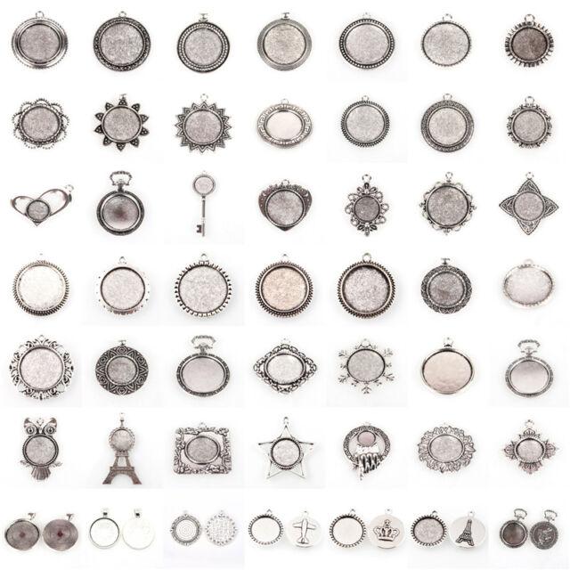 10pcs Antique Silver Alloy Flat Round Tray Pendant Blank Bezel Cabochon Settings