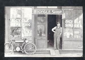 REAL PHOTO MINNEAPOLIS MINNESOTA EGEBERG BICYCLE SHOP MOTORCYCLE POSTCARD COPY