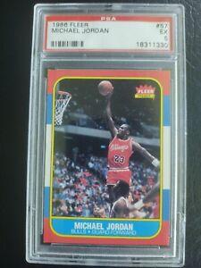 1986 Fleer Basketball #57 Michael Jordan Rookie Card RC Graded PSA 5 Bulls !!!