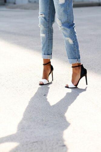 Taglia bianca alto Tacco 39 Zara pelle Scarpe 6 Sandali Eur Bnwt nero Sandalo in MzVpGSqU