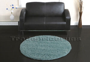 LARGE-THICK-ROUND-CIRCLE-DUCK-EGG-TEAL-BLUE-THICK-SHAGGY-RUG-110cm