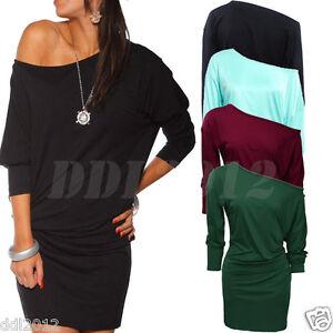 New-Fashion-Womens-Long-Sleeve-Off-Shoulder-Mini-Batwing-Tunic-Dress-Top-AU-8-20