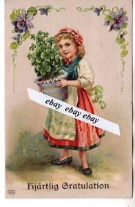 Used 1914 Beautiful Antique Greetings Postcard Girl Sweden Swedish Ebay