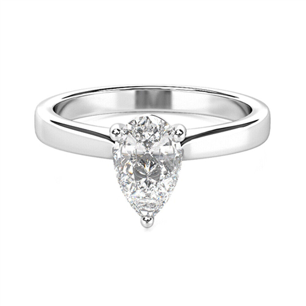 Jewelry & Watches 1ct Pear Cut Diamond Cluster Solitaire Engagement Ring 14k White Gold Finish
