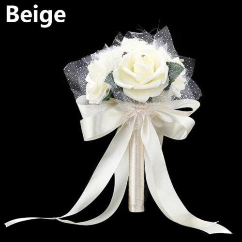 Romantic Artificial Rose Bridal Holding Flower Silk Bouquet Bridesmaid Decor