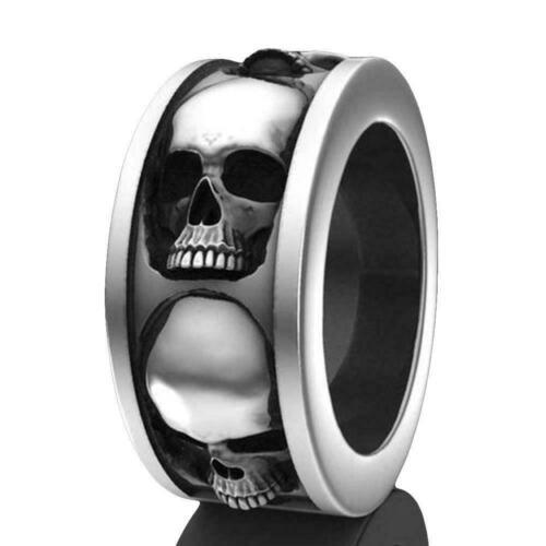 Herren Hip Hop Ring Edelstahl Schädel Punk Gothic Ring Schmuck Kreative Ges S6D9