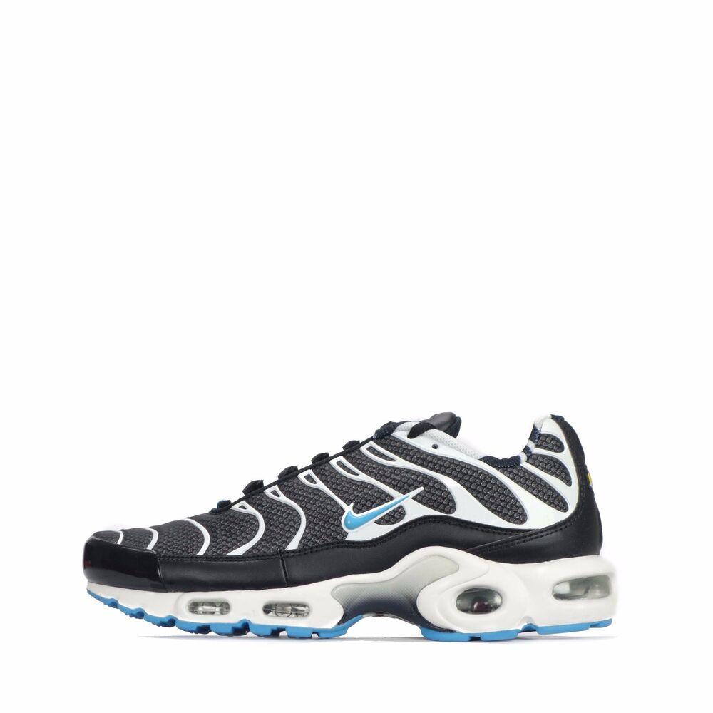 Nike Air Max Plus TN Tuned Homme Chaussures en noir/Vivid Blue- Chaussures de sport pour hommes et femmes
