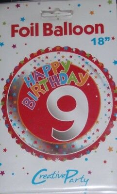 """18/""""  FOIL BALLOON HAPPY 8TH BIRTHDAY PARTY NEW IN RETAiL PACKET holographic"""