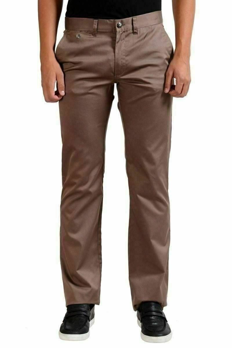 Versace Collection Men's Stretch Light Brown Casual Pants US 32 IT 48