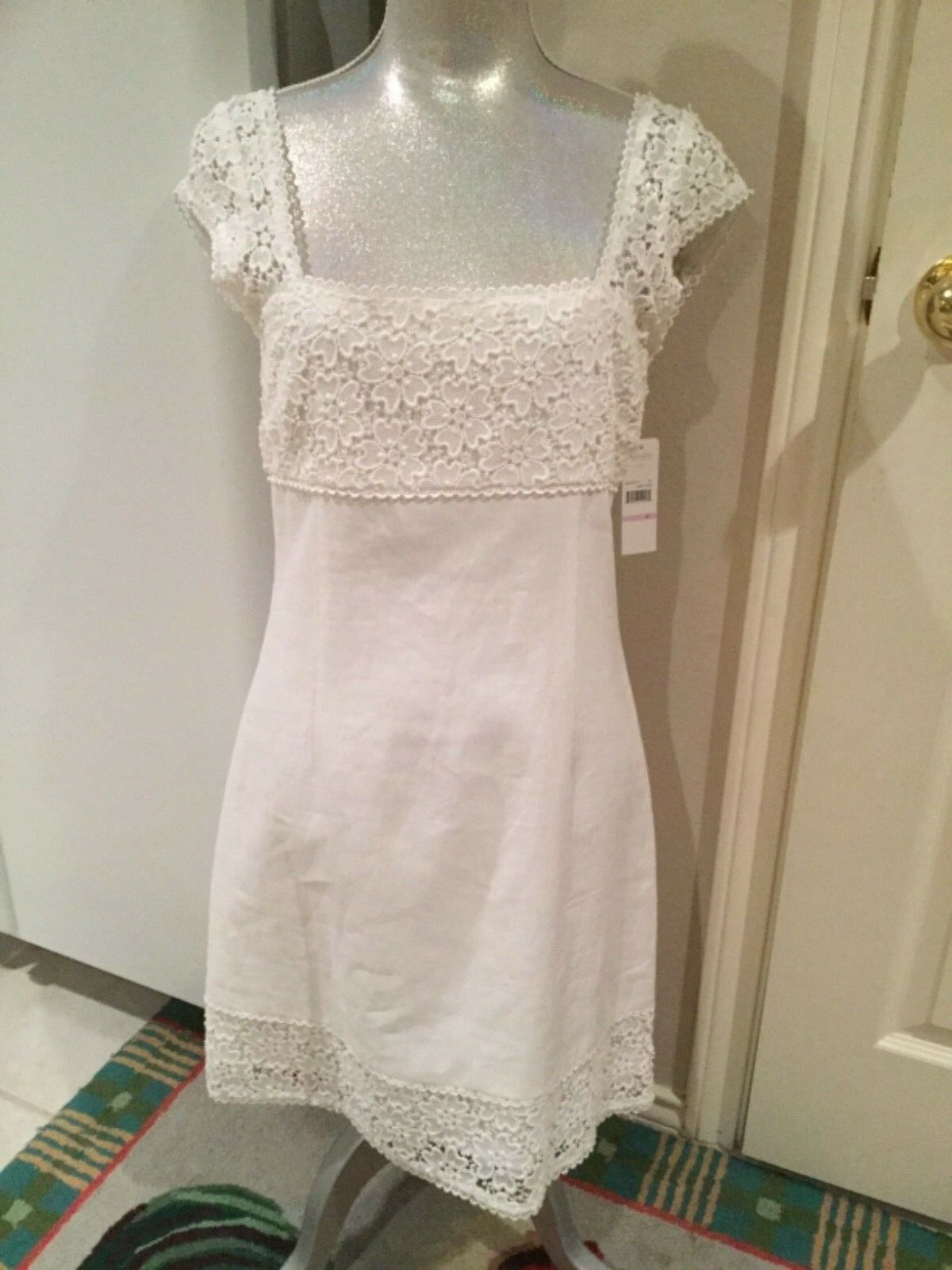 LAUNDRY BY SHELLI SEGAL SEGAL SEGAL Women's white linen floral lace cap sleeves dress NWT 6 dc8cfb