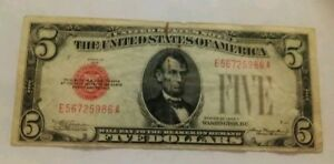 1928 C $5 DOLLAR BILL Federal Reserve Note CURRENCY RED SEAL J801