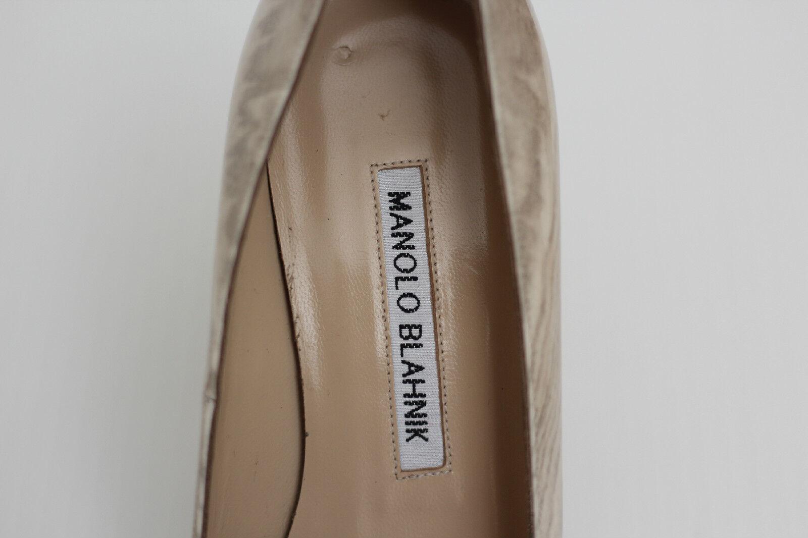 Manolo Blahnik Blahnik Blahnik 'BB' Pointy Toe Pump - Beige Wood Grain- Size 6.5US   36.5 (W92) 6a116c