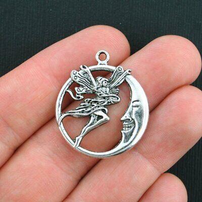 SC3726 BULK 20 Fairy Moon Charms Antique Silver Tone Gorgeous Detail