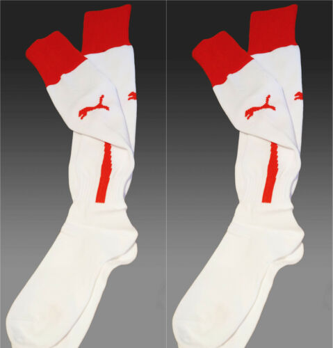 2 x New PUMA M Football Socks White with Red Trim UK 25 Eur 3538 Size 2
