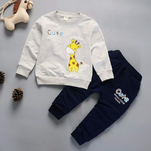 Autumn Winter Children Clothing Boys Cartoon Animals Casual Sports T-shirt Pants