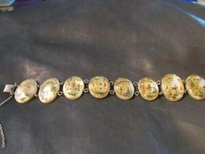 Lovely-Antique-Persian-Hand-Painted-Mother-Of-Pearl-amp-Silver-Panel-Bracelet