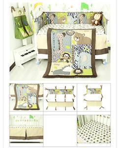 7 Piece Boy Baby Bedding Set Animals World Nursery Quilt Bumper Sheet Crib Skirt