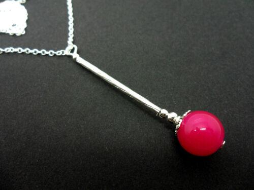 Una plata plateado Rosa grano de Jade Colgante Collar Nueva.