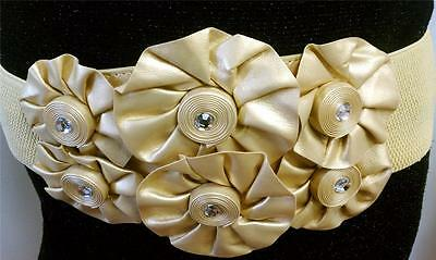 FAUX LEATHER GOLD ELASTIC WIDE BELT WITH FLOWERS IN MIDDLE SIZE S M L XL