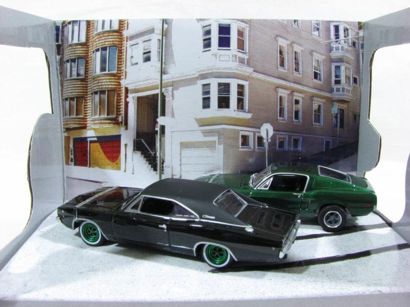 GreenLight Steve McQueen Mustang & Charger Green Wheels