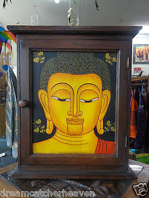 BEAUTIFUL HUGE BUDDHA LANA HAND PAINTED KEY HOLDER BOX FOR WALL RRP $290