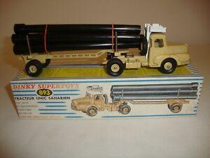 Tracteur et transporteur de tuyaux Dinky 893 Unic Sahara français - Excellent dans sa boîte d'origine