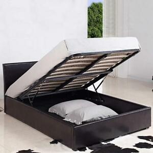 Image is loading 4FT-SMALL-DOUBLE-LEATHER-OTTOMAN-STORAGE-BED-BLACK- : ottoman storage bed small double  - Aquiesqueretaro.Com