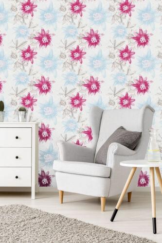 Vlies Tapete Aquarell Passionsblume Retro Blumen Muster weiß pastell blau pink