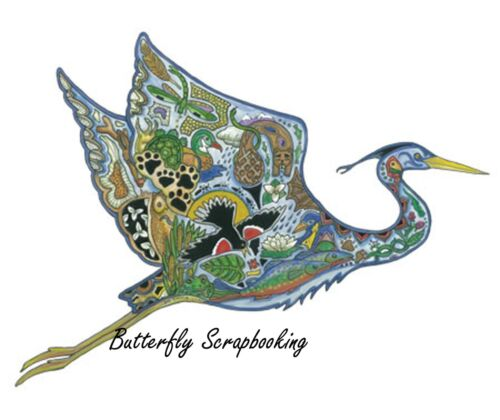 Blue Heron Animal Spirit Cling Unmounted Rubber Stamp EARTH ART Sue Coccia New