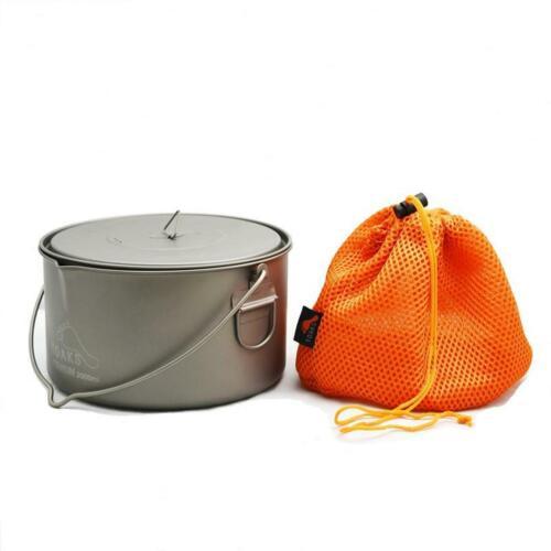 Toaks Titanium 2000ml Pot Heat Resistant Bail Handle Lightweight Outdooor Cook