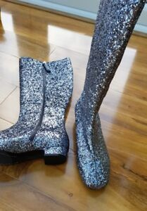 BODEN-Ladies-GORGEOUS-Silver-Glitter-Leather-boots-Size-39-UK-6-AZ213-BRAND-NEW