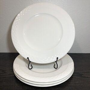 "Mikasa Ortley Dinner Plates Embossed Basketweave Edge White 10 3/4"" Set Of 4"